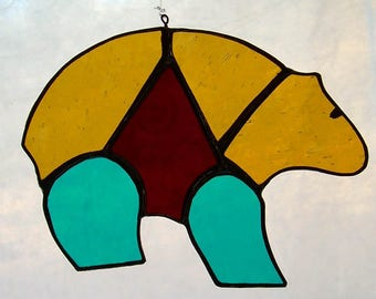 """Stained Glass """"Heart Bear"""""""