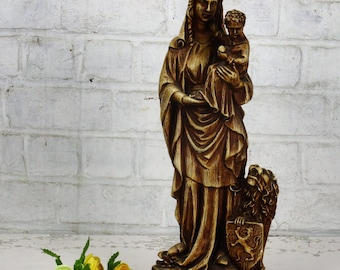 Our Lady of Flanders Virgin Mary Infant Child Gothic Plaster Statue Lion Dragon