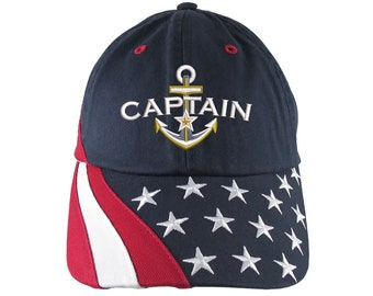 Nautical Star Anchor Boat Captain Embroidery on Adjustable Navy Blue Unstructured Stars and Stripes Patriotic Baseball Cap + Options