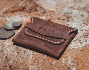 Handmade leather wallet, mini wallet, wallet,cards, simple wallet, personalized wallet, coin.