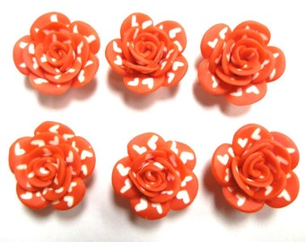 6 Fimo Polymer Clay Valentine Heart Flower Rose Fimo Beads 25mm
