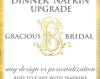 Dinner Napkin UPGRADE ADD-ON - Custom Personalized Dinner Napkin