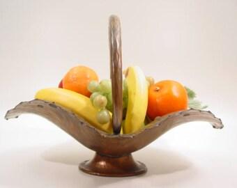 Egidio CASAGRANDE copper bowl hammered FRUIT BASKET Italy design 1930 - vintage Italian Art Deco rame cestina portafrutta - ramato coppa