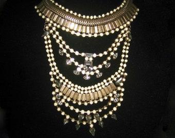 Vintage 1930s 40s Awesome Rhinestone Bib Necklace