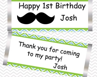 Mustache Bash - Personalized Candy Bar Wrapper