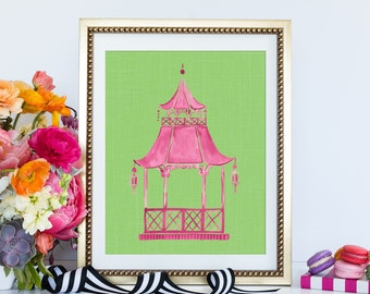 Pink Pagoda Painting, Chinoiserie Wall Art, Hollywood Regency Wall Decor, Preppy Pagoda Print, Pagoda Wall Art, Pagoda Wall Art, Eastern Art
