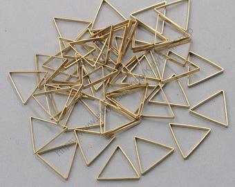 20Pcs, 25mm Raw Brass Triangle Charms Pendants ZR-7494