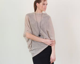 Cocoon sweater, Mohair knit sweater, asymetrical sweater, asymetric knitwear women, mohair wrap, mohair knit jumper, lightweight knit wrap