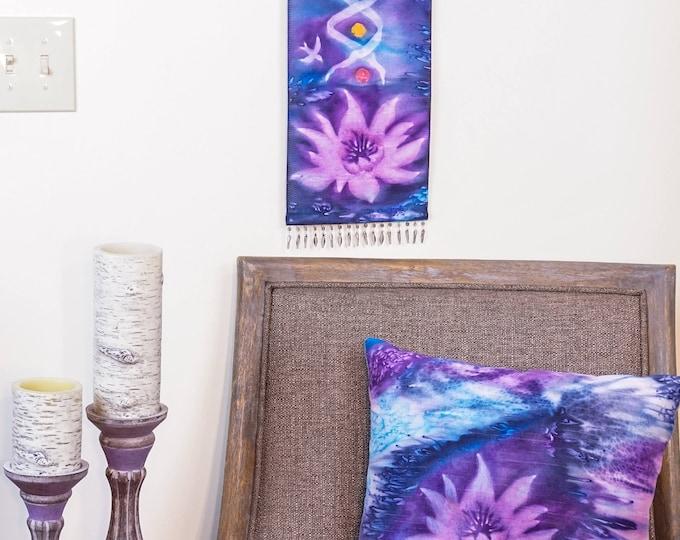 Lotus Flower Pillow-Watercolor Silk Pillow-Lavender-Boho Decor-Bohemian Pillow-Zen Decor -Yoga Gifts-Home Decor Gift-Watercolor Home Decor