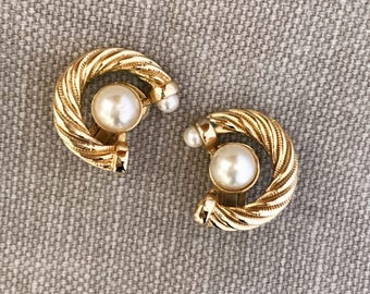 Vintage gold-plated twisted rope pattern clipped on statement earrings