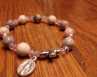 Natural Jasper Bead Bracelet, Rosary Bracelet, Stretch Fashion Bracelet, Christian Bracelet
