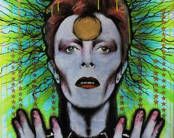 DAVID BOWIE Tribute - Starman - Original art - Painting - Mixed Media - 'Bitcoin accepted'