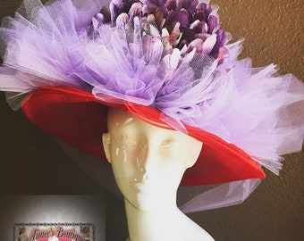 Easter Purple Red Hat Society Flower Lg Lavender Tulle Church Contest High Tea Kentucky Derby Royal Ascot Breeders Del Mar Races