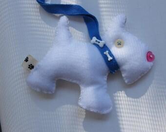 White  Christmas Ornament Pincushion Charm Doggie  Scotty Felt Charm