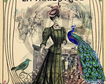 La Vraie Mode Vintage French Digital Collage Sheet crown victorian peacock image transfer greeting cards UPrint 300jpg