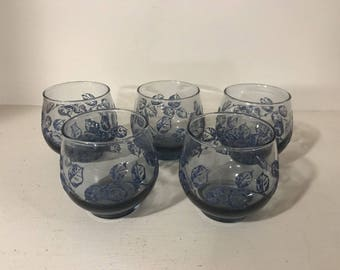 "Vintage Libbey Cobalt Blue Raised Leaf 3"" Tumbler Glass Set of 5"