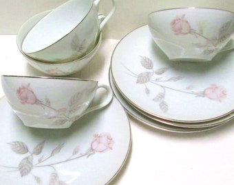 TEACUPS 4 Sets Pink Roses China Tea Party Princess Wedding Favors Vintage Tea Cups Saucers Matching Mix Match Orphans Mad Hatter Teacups Lot