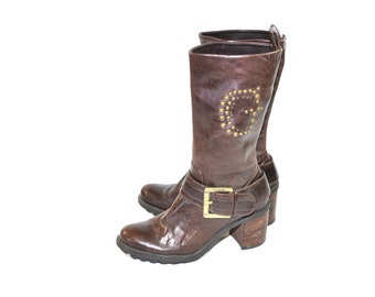 Vintage Brown Harness Boots Brown Boots Moto Boots Engineer Boots Brown Leather Boots Size 8 9