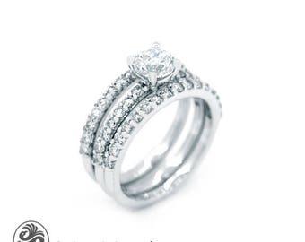 Three Band Engagement Ring, Prong Set Diamond Wedding Set, Wedding Set, Diamond Engagement and wedding Set, Three Band Ring | LDR02527