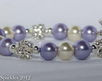 Lavender and Ivory Sparkling Bracelet