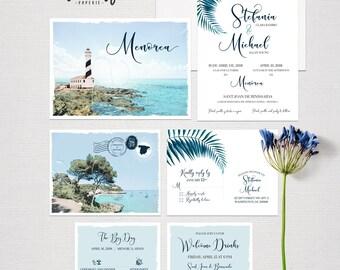 Menorca Minorca Spain Destination Wedding Invitation Set blue colors Mediterranean Illustrated wedding invitation   - Deposit Payment