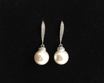 Pearl drop earrings silver earrings dangle pearl earrings dangle. Swarovski bridesmaid pearl earrings, bridal earrings pearl drop wedding