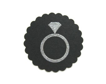 Diamond Ring Die Cut on 2 Inch Scalloped Circle Set of 20