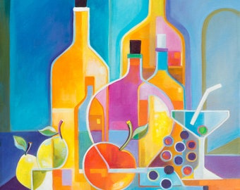 Cubism Abstract Original Oil painting Marlina Vera Fine Art Gallery artwork Wine Martini Picasso Style Cubist modernism Pop fruits bottles