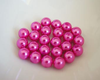 Your pink or purple to choose from-set of 10 beads glass Pearl round 8mm
