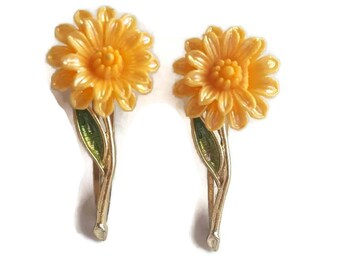 Antique Barrettes, Barrettes Vintage, Set, Sunflower, Daisy Barrettes, Flower Barrettes, Set of Two Barrettes, Yellow, For Girls
