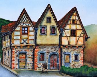 "Volkslied, original watercolor painting by Meike Geisler; 9"" x 13""; colorful German cottage, reds, oranges, blues, browns, yellows, greens"