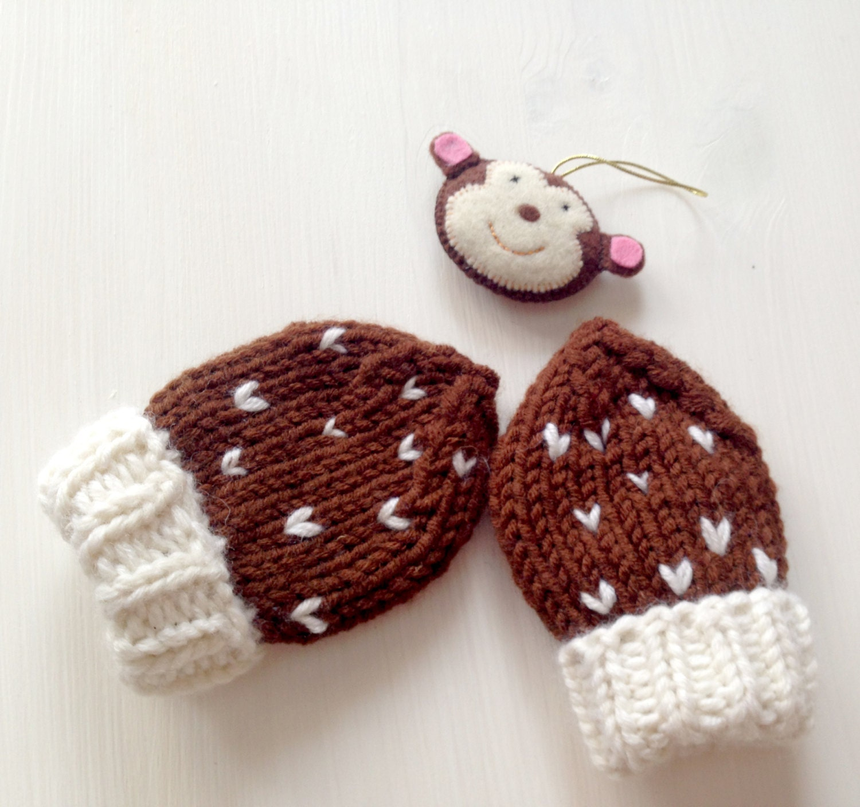 Oreo Baby Mittens PDF Knitting Pattern Kids Thumbless Gloves 0-6 ...