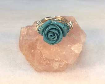 Blue Rose Ring, Blue Resin Ring, Wire Wrapped Ring, Resin and Crystals, Choose Ring Size, Choose Sterling Silver, Choose Craft Wire