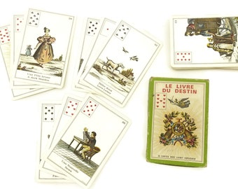 The Book of Destiny by B.P. Grimaud. Game Tarot Cards Deck France. French Vintage Cartomancy cards.