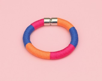 Color Block Rope Bracelet For Women, Colorful Fabric Bracelet, Textile Jewelry, Unique Gift For Her