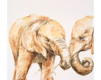 A4 Limited Edition archival giclee print from original watercolour/watercolour ink painting drawing. Baby elephants Kenya Africa