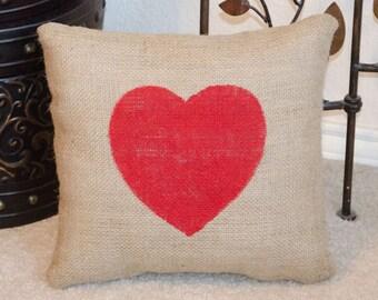 Heart Pillow, Valentine Pillow, Valentine Gift, Burlap Heart Pillow, Valentines Day Gift, Valentines Day Pillow, Valentines Day Heart