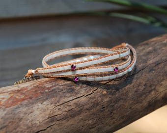 leather wrap bracelet, luster white, natural leathers, bohemian jewelry, free spirit, pink stones, sparkling by Funky Bells, minimalistic