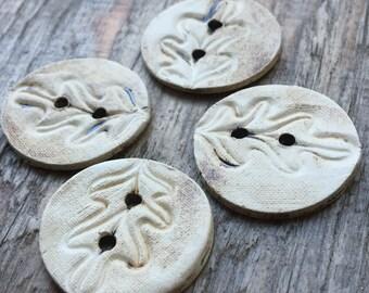 Oak leaves III. - set of handmade ceramic unique buttons