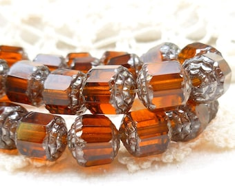 Translucent Amber Cathedral Czech Glass Beads - 1 Strand