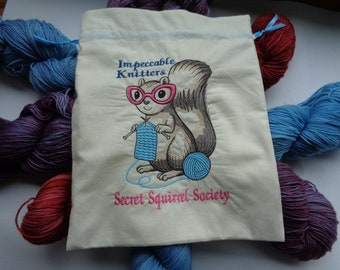 Impeccable Knitters Secret Squirrel Society Project Storage Bag