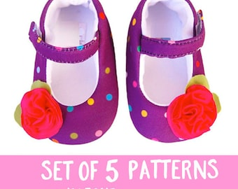 baby shoes pattern 43, Mary janes patterns baby shoes, baby girls bow shoes, soft sole baby shoes, girls size 0-12m, girls clothing shoes