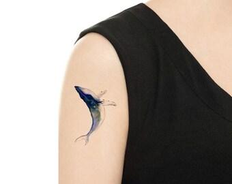 Temporary Tattoo -  Milk Tea / Moon / Watercolor Bird / Watercolor Lion / Watercolor Whale / Tattoo Flash