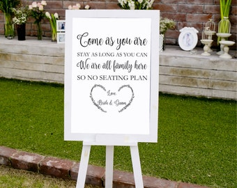 No Seating Plan Sign Template, Open Seating Sign Printable, Wedding Signs, Wedding Printables, Instant Download