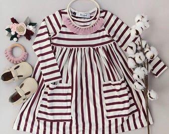 Striped Toddler Dress, Toddler Dress, Toddler Christmas Dress, Holiday Dress, Day Dress, Maroon Dress, Fall Dress, Fall Outfit,