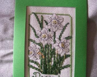 Birth Month Flower Design Blank Greeting Card-- December