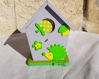 birdhouse piggy bank with Hedgehog (ref TC009)