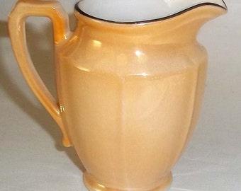 "Vintage Czechoslovakia Lustre Ware 3-1/4"" Tall Cream Pitcher"