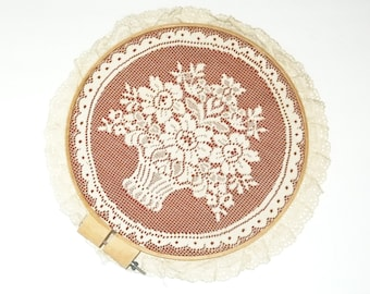 Lace Picture Vintage Hoop Wall Hanging Ivory Lace Embroidery Handmade USA Floral Design Wood Frame Collectible Lace Picture Frame Needlework