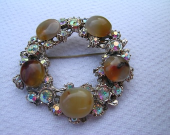 A gorgeous unique large upcycled gold coloured metal and AB diamantes vintage brooch reset with polished agates